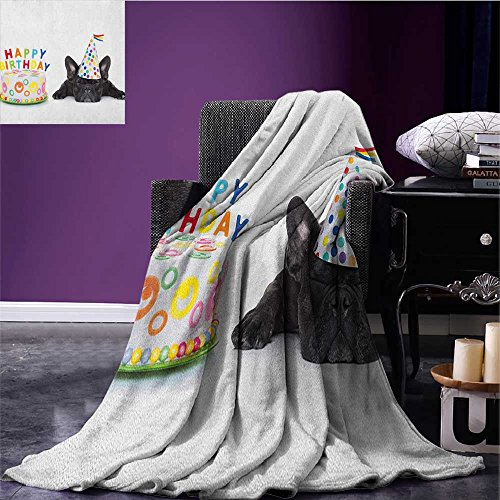 Kids Birthday couch blanket Sleepy French Bulldog Party Cake with Candles Cone Hat Celebration Image Custom Multicolor size:59