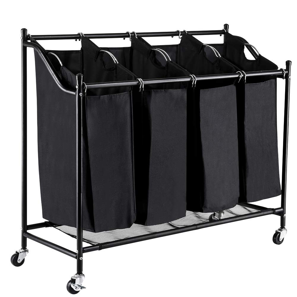 FORUP 4 Section Rolling Laundry Hamper Sorter Cart, with Removable Bags and Brake Casters (Black)