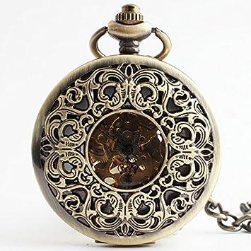 HBB retro palacio tallado / hombres reloj de bolsillo y las mujeres / grande larga sección hueca reloj de bolsillo mecánico / de bronce de la naturaleza