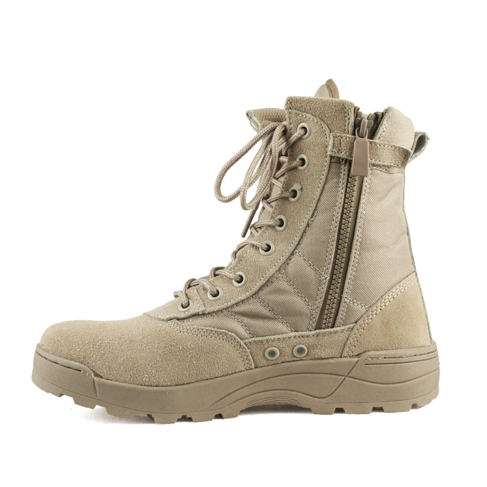 Yayoshow Boots for Men Combat Military Tactical Boots Side-Zip Boots Vintage Desert Tan Boots (Ship from USA)