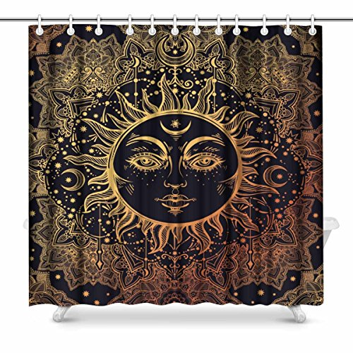 InterestPrint Beautiful Floral Paisley Sun Face Medallion Pattern House Decor Shower Curtain for Bathroom, Decorative Fabric Bath Curtain Set with Rings, 72(Wide) x 72(Height) ()
