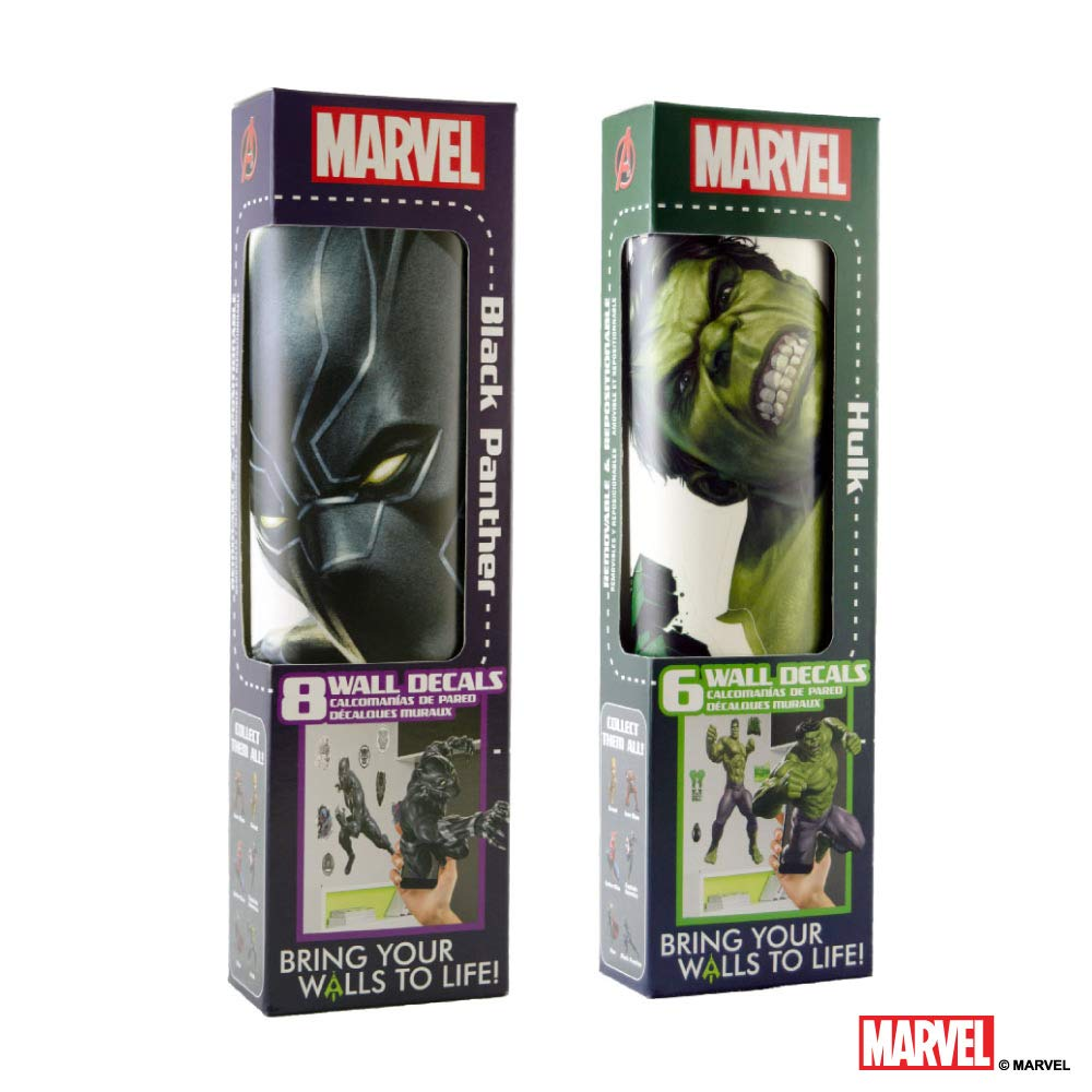 Marvel Black Panther & Hulk Vinyl Stickers Augmented Reality Stickers for Kids Rooms - Kids Wall Decals for Bedroom are Easy to Put Up On Wall and Peel Off - Best Bedroom Décor Birthday Gift by Marvel