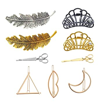 Gold Round Hair Clip Barrette Clasp Minimalist Head Pin Grip Geometric Elegant