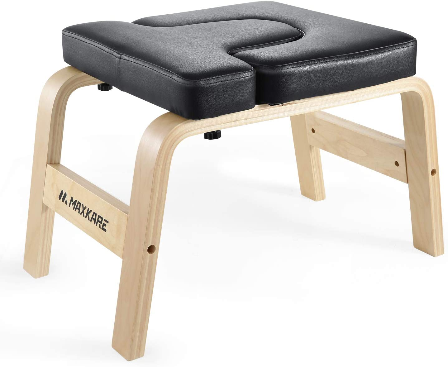MaxKare Yoga Headstand Bench Wood Stand Yoga Inversion Chair Stool Handstand with PVC Pads for Family, Gym – Relieve Fatigue and Shape The Body Black
