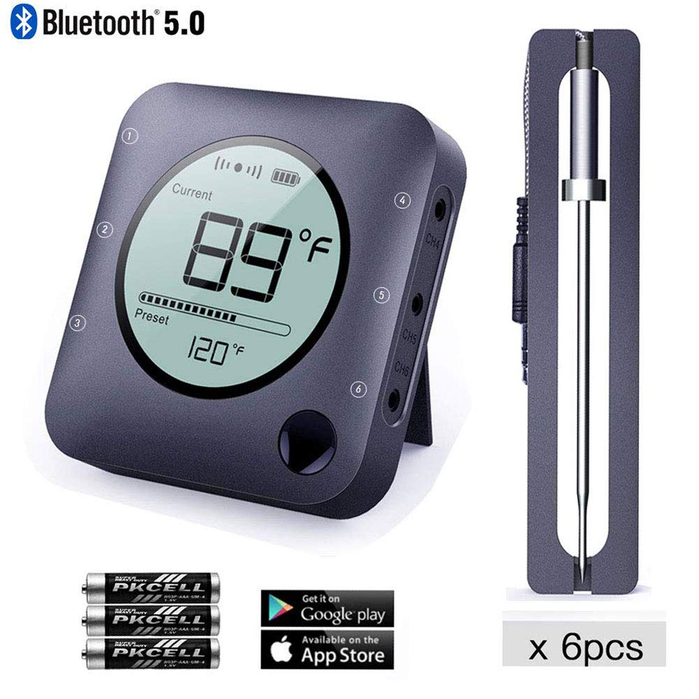 NeeQi Bluetooth Meat Thermometer Smart Wireless Remoted Digital BBQ Thermometer with 6 Stainless Steel Probes Monitor APP Controlled for Barbecue Cooking Smoker Kitchen Oven