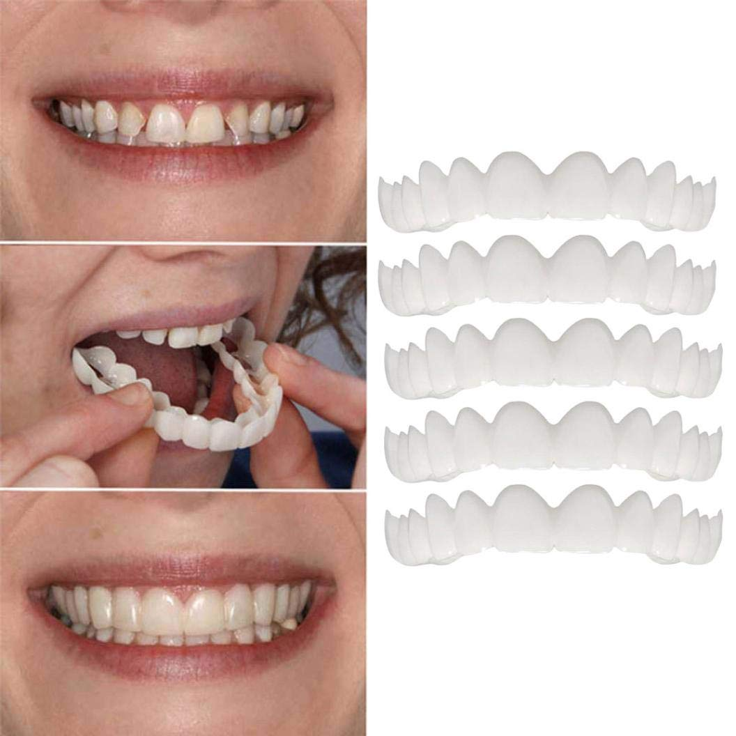 Oldeagle 5PCs Cosmetic Teeth, Temporary Smile Comfort Fit Cosmetic Teeth Denture Teeth Top Cosmetic Sticker For Men, Women