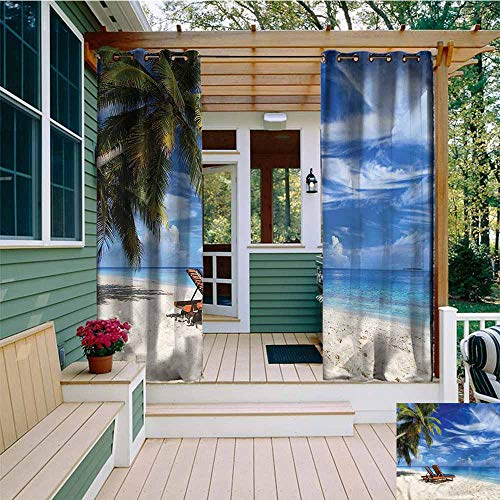 Grommet Extra Long Curtains,Seaside Tropical Sandy Beach Chairs,Insulated with Grommet Curtains for Bedroom,W72x96L