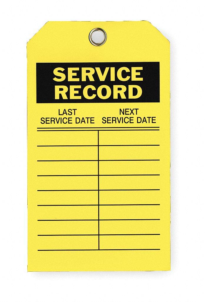 Service Record Tag, Polyester, Height: 7'', Width: 4'', Yellow pack of 5