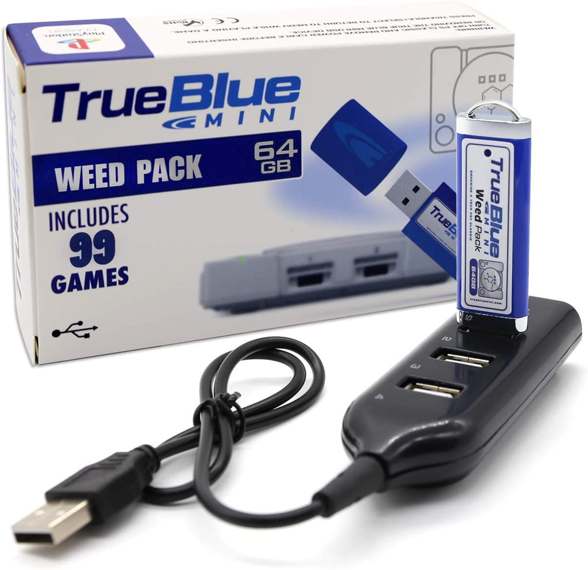 The perseids True Blue Mini Weed Pack USB Flash Drives 64GB Game Memory Stick with 4-Port Hub for Playstation Classic - Includes 99 Games (Weed Pack)