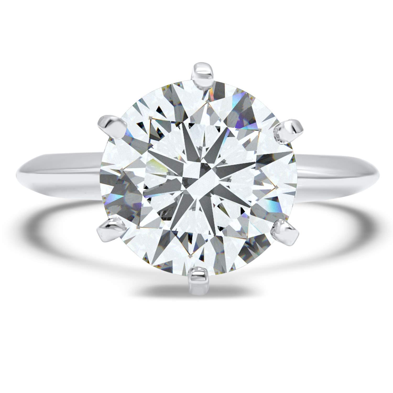 b4abf7f4832b5 Eternal Jewelry Solid 14K White Gold CZ Cubic Zirconia Engagement ...