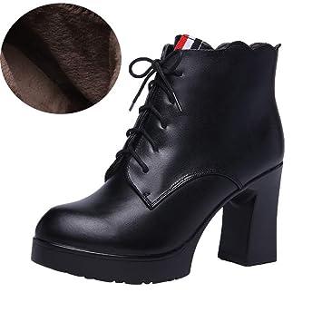 YAN Señoras Botines Moda Primavera otoño Cuero Botines Cortos con Cordones Botas Mujer Zapatos Boda Fiesta
