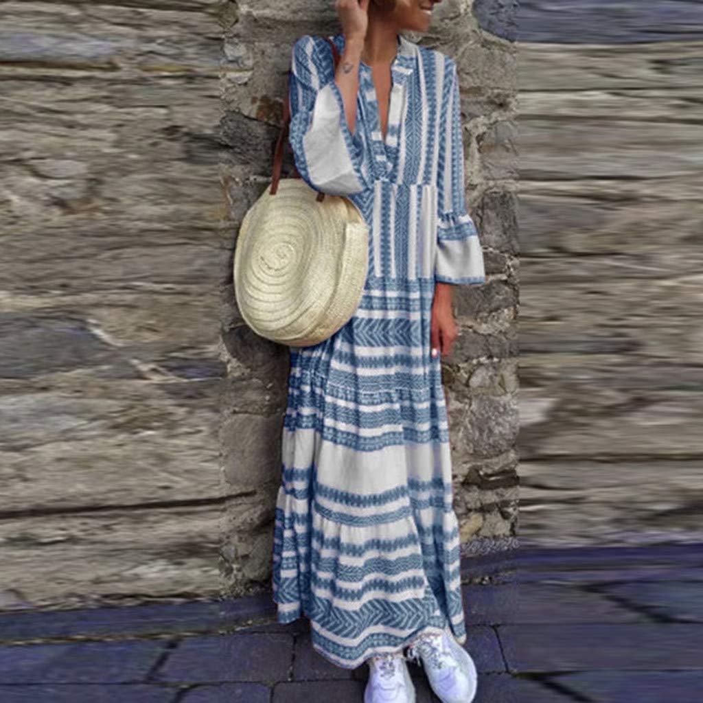 Women Boho V Neck Long Dress Summer Casual T-shirt Striped Flare Plain Ruffle Long Sleeve Maxi Holiday Beach Dresses (XX-Large, Blue) by LANTOVI Women Dress (Image #2)