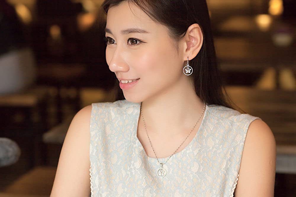 SO SEOUL Womens Diamond Simulant Butterfly In Circle Dangle Earrings Necklace Set
