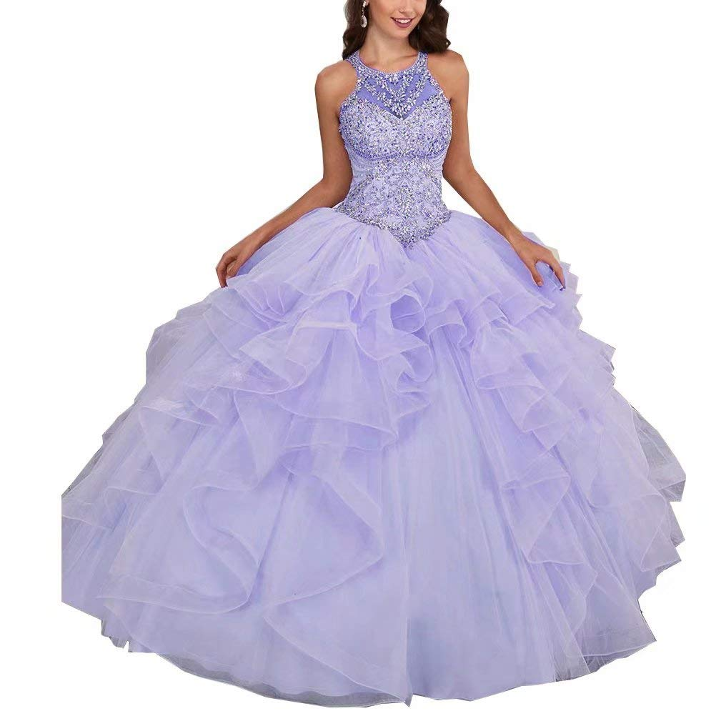 color 3 Unions Women Halter Crystal Beaded Prom Quinceanera Dress Sweet 16 Ball Gown Dresses
