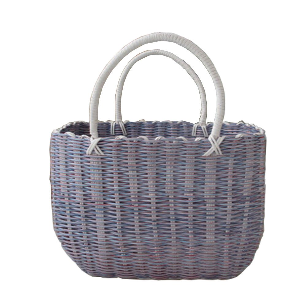 Woven Basket With Handles Storage Baskets Multipurpose Organizer, lilac Kylin Express