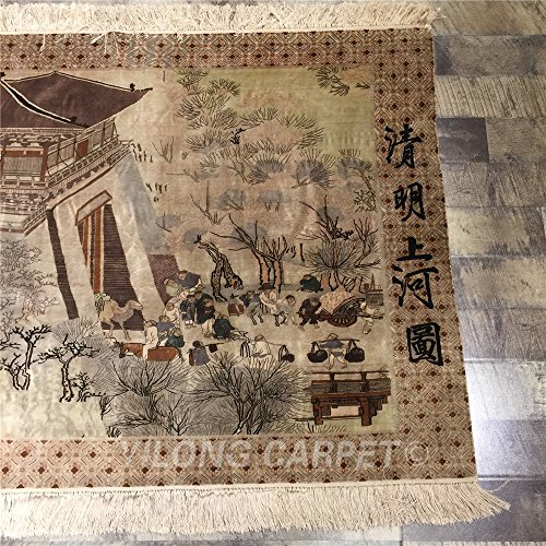 Luxury Dynasty Silk (Yilong 800Lines Handmade Pure Silk Rugs Antique Along the River During the Qingming Festival Classic Chinese Historical Artwork Collections Tapestry, 3'x12')