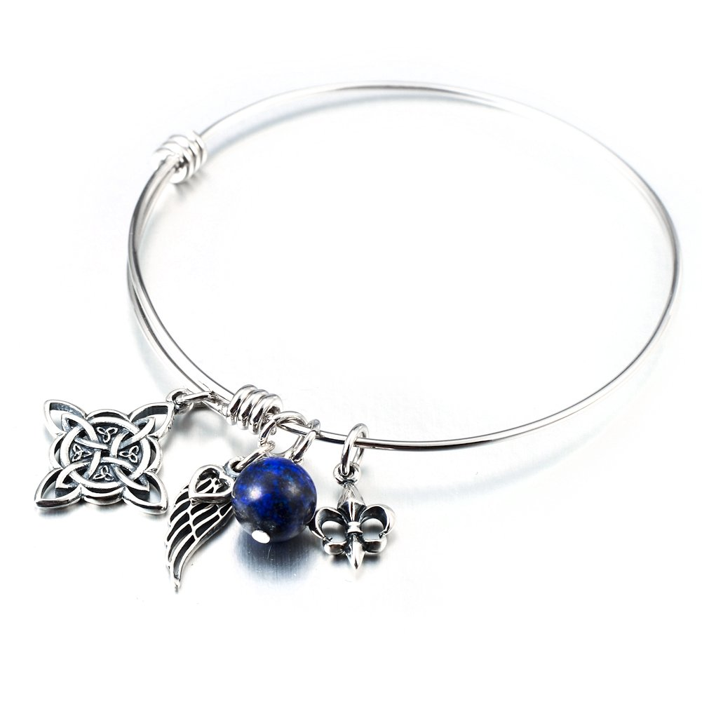 Sterling Silver Irish Celtic Knot Angel Wing Expandable Wire Bangle ...