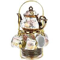 DaGiBayCn 20 Piece European Ceramic Tea Set Porcelain Tea SetWith Metal Holder,flower tea set Red Rose Painting,150ML…