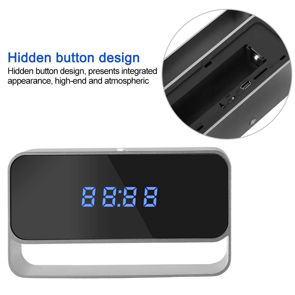 Home Security Camera 1080P HD Wireless Small Camera Portable Electric Clock DVR Recorder US Plug 140/° Wide-Angle Surveillance Camera with Night Vision Motion Detection