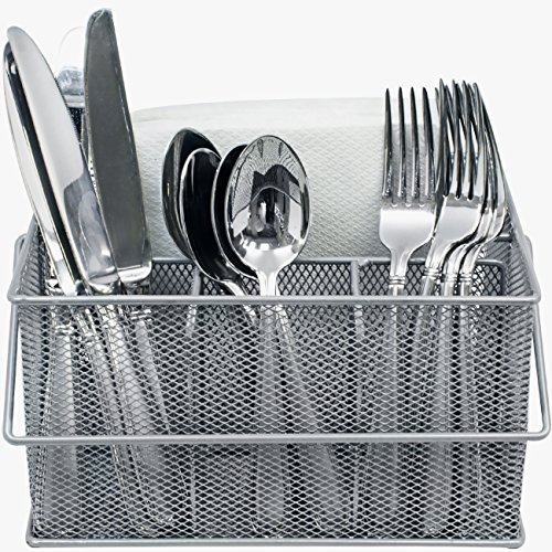Sorbus Utensil Caddy - Silverware, Napkin Holder, and Condiment Organizer - Multi-Purpose Steel Mesh Caddy-Ideal for a Kitchen, Dining, Entertaining, Tailgating, Picnics, and much more (Silver) by Sorbus