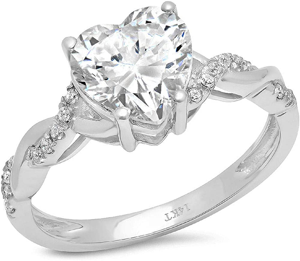 2.19ct Heart Cut Criss Cross Twisted Solitaire Accent Halo Genuine Lab Created White Sapphire Ideal VVS1 & Simulated Diamond Engagement Promise Statement Anniversary Bridal Wedding Ring 14k White Gold