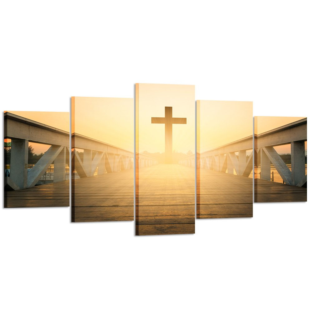 Kreative Arts - Large Size 5 Pieces Canvas Prints Wall Art Christian Cross Picture Stretched Gallery Canvas Wrap Giclee Ready to Hang for Living Room Decor (XLarge Size 79x40inch)