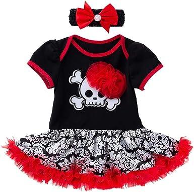 QinMMROPA Body de Vestido de Halloween para bebés niñas Diadema ...