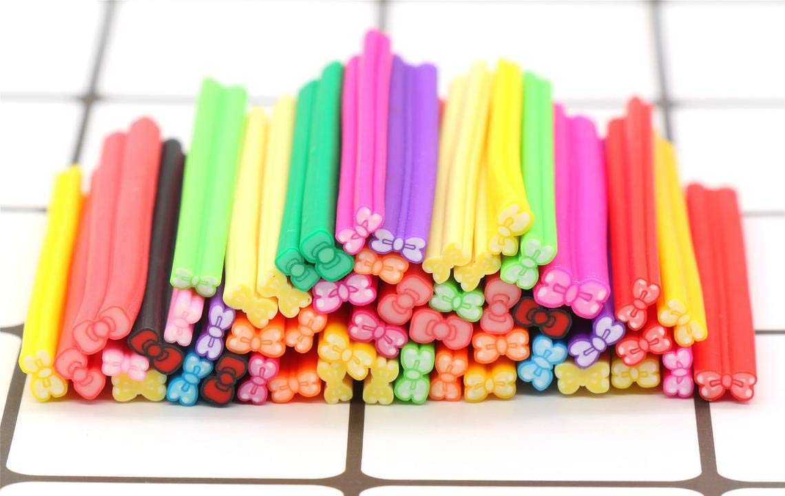 Great Selection Assorted Bow Polymer Clay Canes Stick, Mixed Bow Fimo Canes, Nail Art Decoration Build Your Designs by Charm & Beads