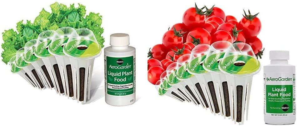 AeroGarden Salad Greens Mix Seed Pod Kit, 6 & Miracle-GRO AeroGarden Red Heirloom Cherry Tomato Seed Pod Kit (7-Pods)