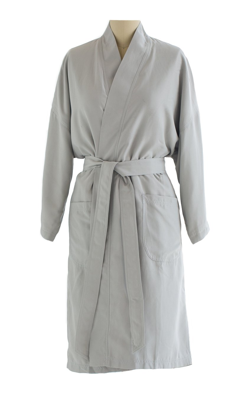Kimono Bathrobe - Lightweight Microfiber Robe with Plush Minx Lining - Spa & Hotel Luxury - Perfect for Men and Women - SAGE/Ivory - XS