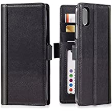 iPhone X Wallet Case Leather - iPulse Journal Series Italian Full Grain Leather Handmade Flip Case For iPhone X iPhone 10 with Magnetic Closure - Black