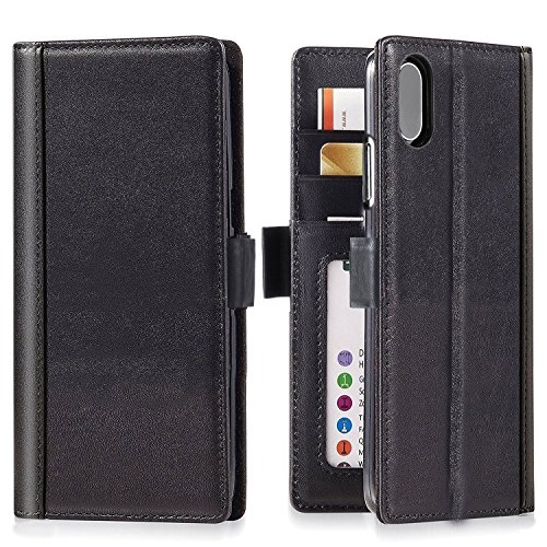 iPhone Xs/iPhone X Wallet Case Leather - iPulse Journal Series Italian Full Grain Leather Handmade Flip Case for iPhone Xs/iPhone X/iPhone 10 with Magnetic Closure - Black ()