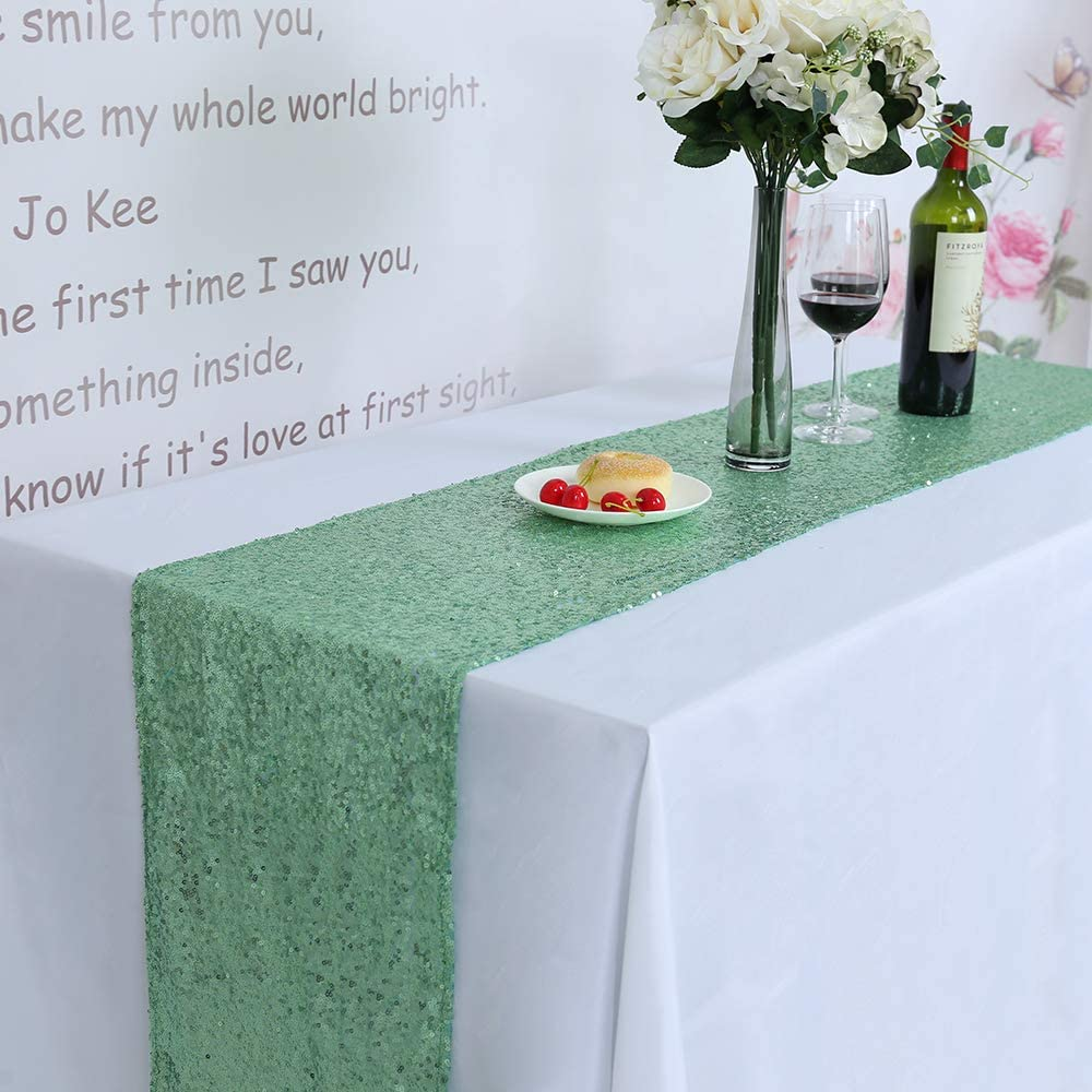 New Sparkly Mint Sequin Overlays Sequin Table Runner 12 by 108 inch