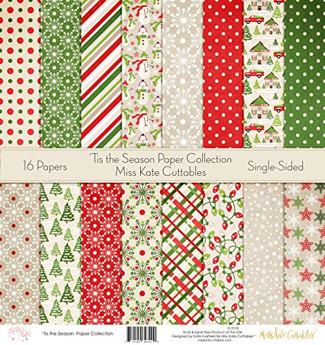 Pattern Paper Pack - 'Tis The Season - Scrapbook Specialty Paper Single-Sided 12