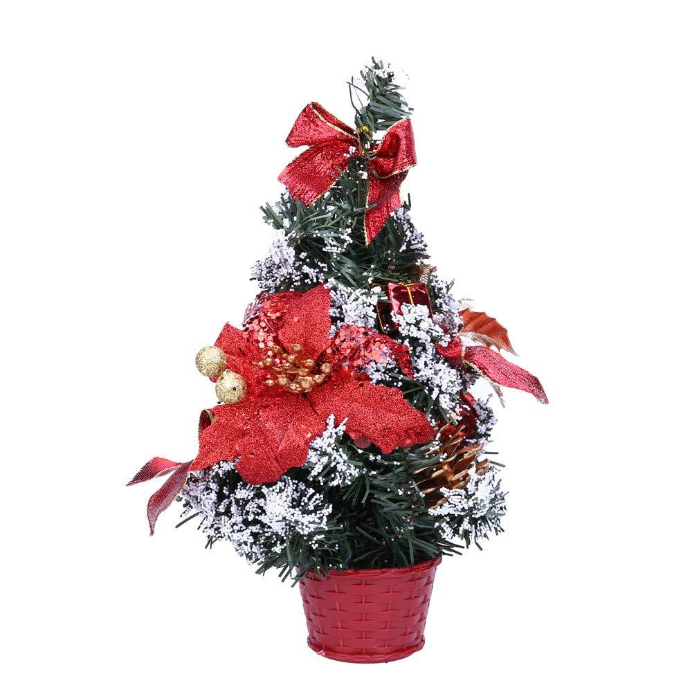 Christmas Tree Decoration, Hoshell Mini Christmas Tree Ornament Desk Table Festival Xmas Party Decor Gifts (25cm, Red)
