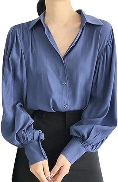 Luckycat Camisas Mujer Casual Oficina Camiseta de Cuello Solapa Casual para Mujer Camisetas de Manga Larga de Blusa de Hebilla Camisas De Vestir Blusa Mujer Elegante Manga Larga Camisa Suelta Mujer: Amazon.es: