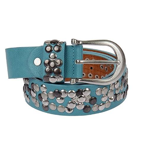 Kossberg 51182 - Cinturón de piel con tachuelas para mujer