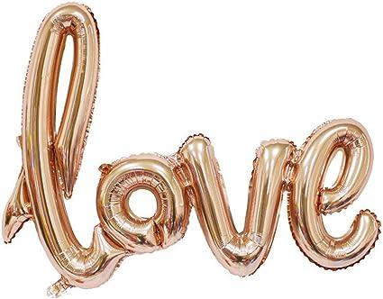 Findfun 30 Inch Champagne Love Balloon Romantic Wedding Bridal Shower Anniversary Script Love Letter Wedding Decor