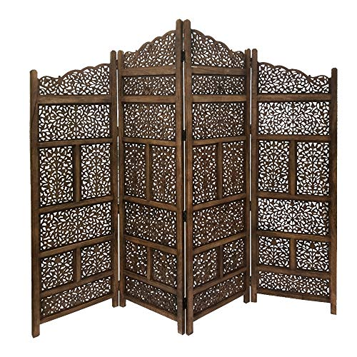 Benzara BM01875 Hand Carved Foldable 4-Panel Wooden Partition Screen/Room Divider, Brown