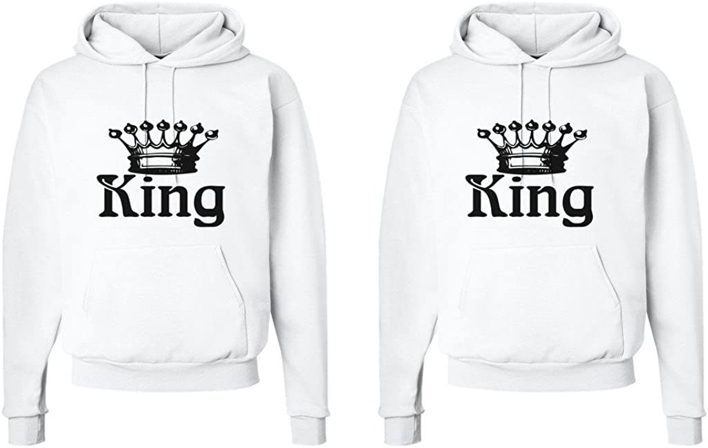 King Shirt #1: XLarge//King Shirt #2: Large White King and King Crowns FASCIINO LGBT Matching Gay Pride His /& His Couple Hooded Sweatshirt Set