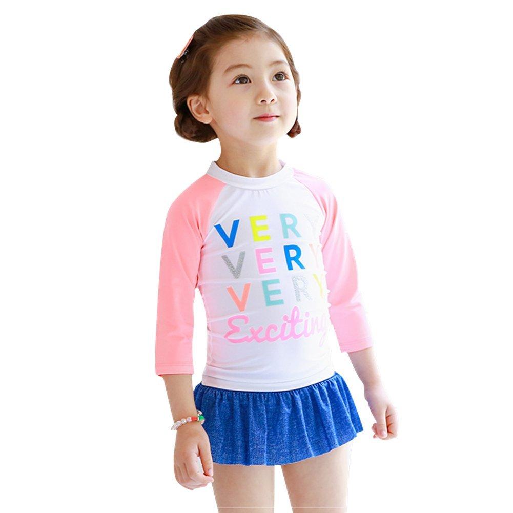 DQdq Little Girls' 2 Piece Rashguard Swimsuit Set