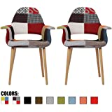2xhome - Set of Two (2) - Multi-color - Upholstered Organic Arm Chair Armchair Fabric Chair Patchwork Multi-pattern Light brown Natural Wood Leg Dining Room Chair With arm Modern