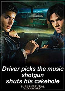 "Ata-Boy Supernatural 'Driver Picks The Music' 2.5"" x 3.5"" Magnet for Refrigerators and Lockers"