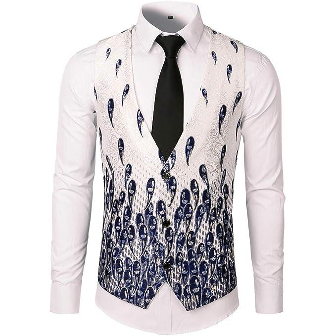 Internet-Chaleco de Traje de un Solo Pecho para Hombre, Estampado Azul, túnica