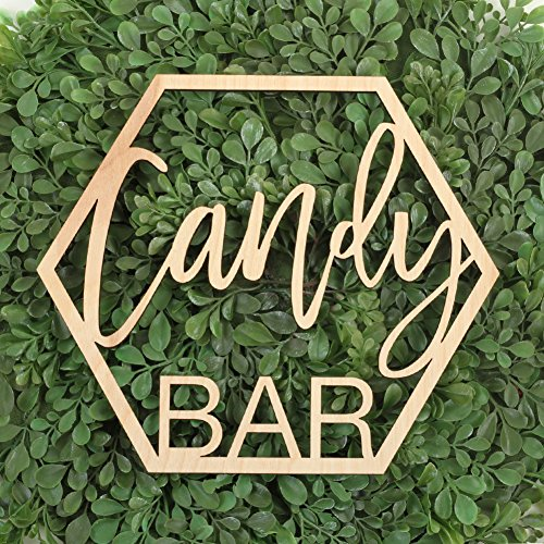 Koyal Wholesale Wood Candy Bar Sign, Wedding Display, Party Banner, Event Decorations For Wedding Engagement Bridal Shower Baby Shower Birthday Party (Candy Bar) by Koyal Wholesale (Image #1)