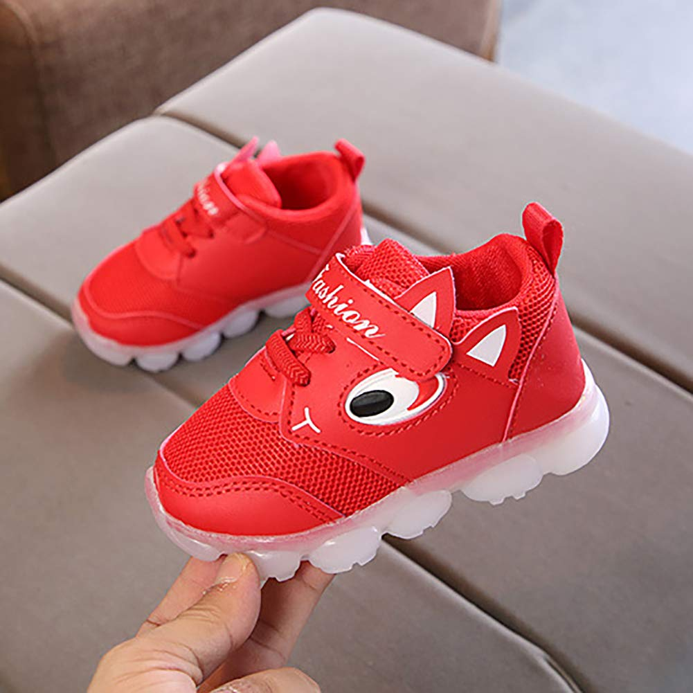 Alamana Fashion Lovely Kids Girls Boys LED Light Sneaker Anti-Slip Casual Shoes Gift Pink 29