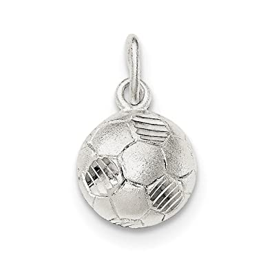 df0dedb41 Amazon.com: Sterling Silver Diamond-Cut Soccer Ball Charm ...