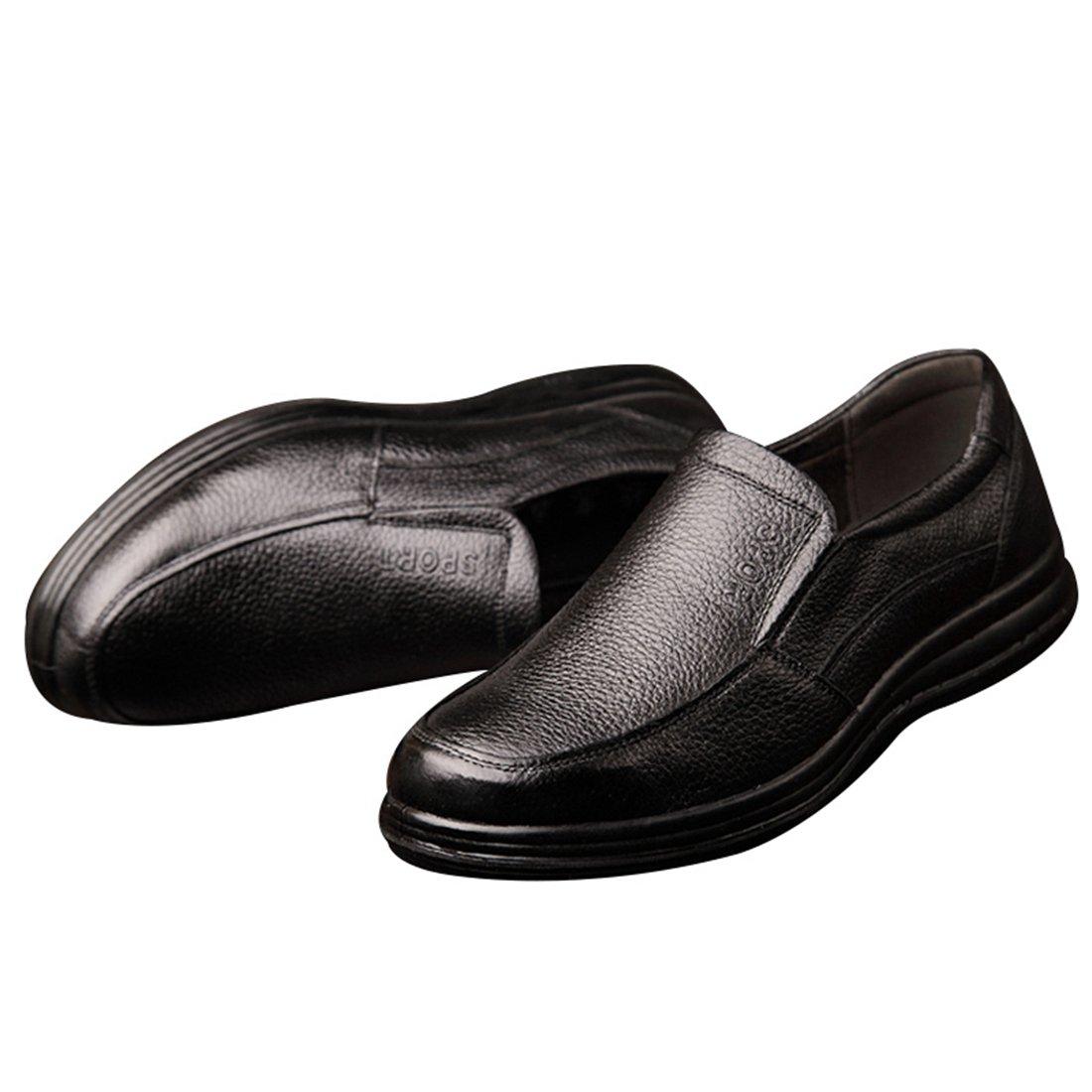 Enerhu Men Slip on Work Shoe Flat Chef Shoes Leather Wear Resistant Oilproof Waterproof Black Asian 44/US 9.5 by Enerhu (Image #3)