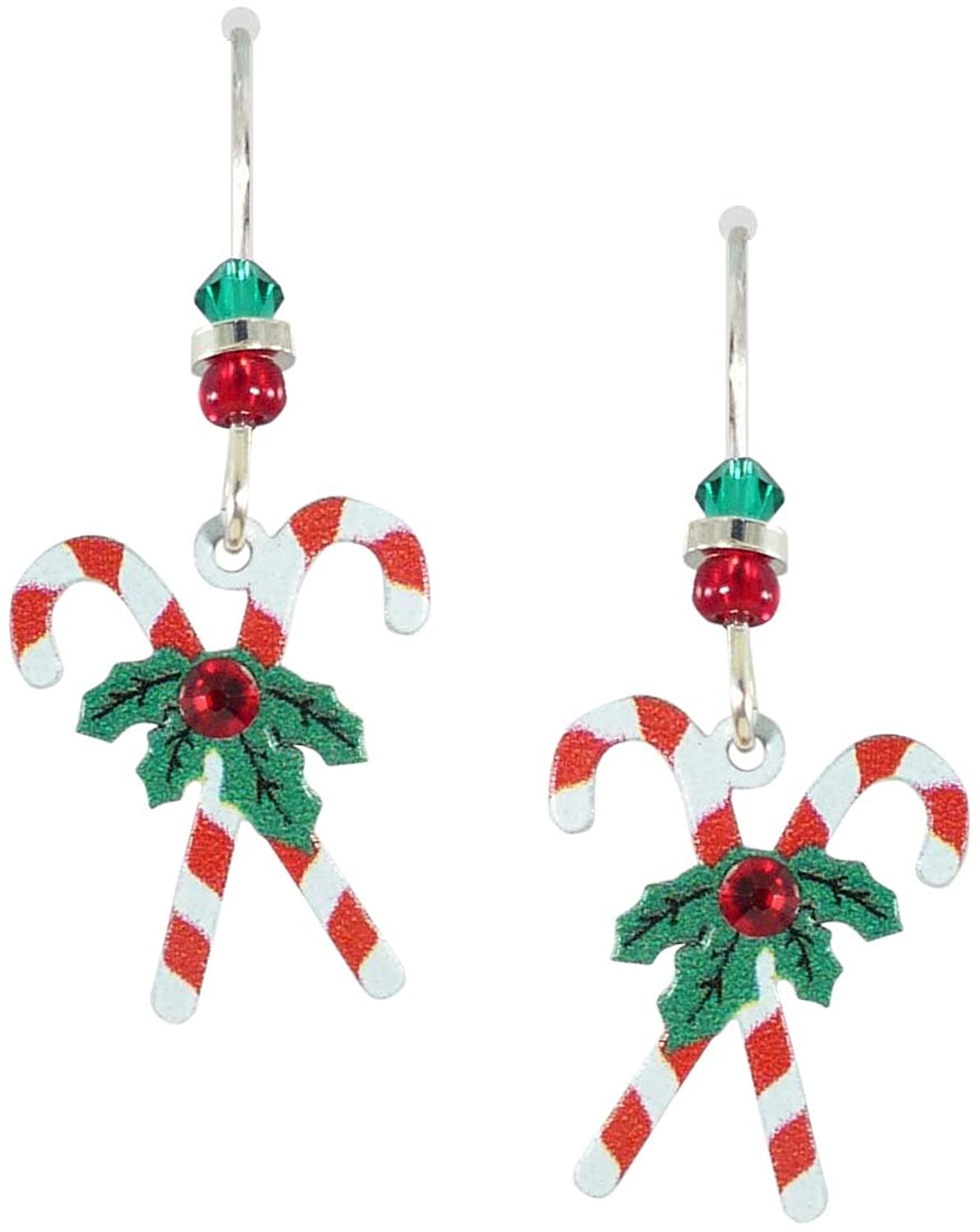 Amazon: Sienna Sky Holiday Christmas Candy Cane Earrings 1279: Hoop  Earrings: Jewelry
