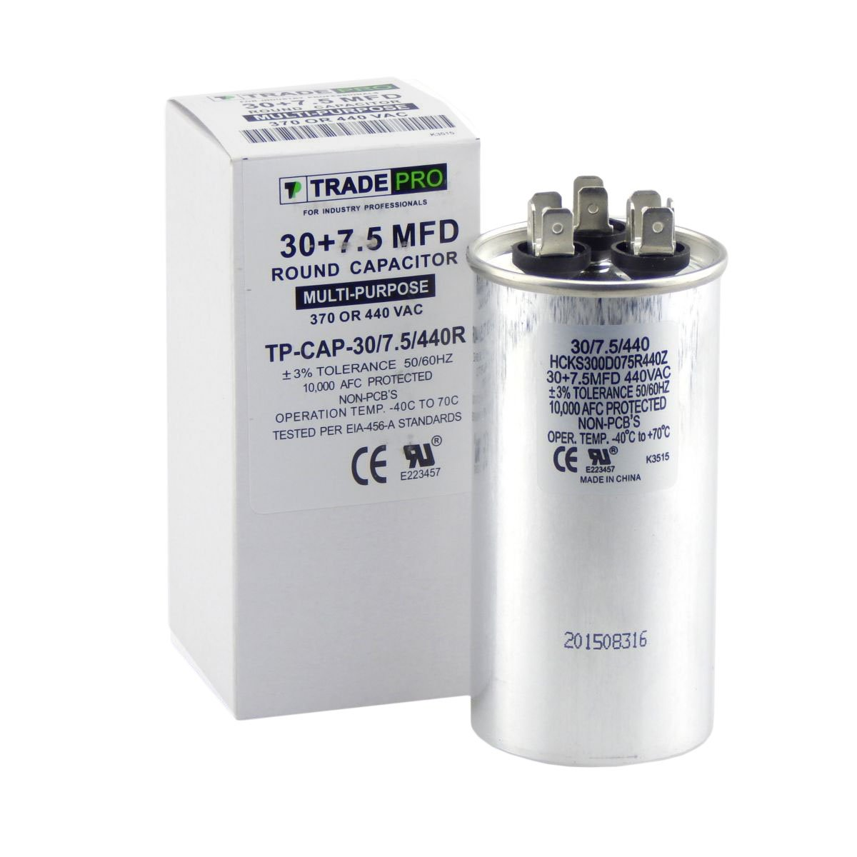 35 + 7.5 mfd Dual Capacitor, Industrial Grade Replacement for Central Air-Conditioners, Heat Pumps, Condenser Fan Motors, and Compressors. Round Multi-Purpose 370/440 Volt - by Trade Pro